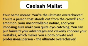 Caelsah Maliat - meaning